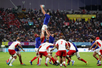 Charles Ollivon wins a lineout for France against Tonga in their Group C game at Kumamoto Stadium on Sunday.