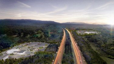 Artist's impression oftwo freehold land parcels, in Cooranbong and Dora Creek, on the M1 Pacific Motorway between Sydney andNewcastle that will be converted into twin service centres.