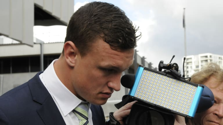 Further scrutiny: Raiders fullback Jack Wighton leaves the ACT Magistrates Court.