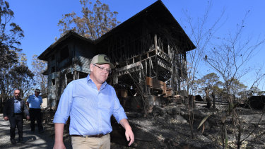 Prime Minister Scott Morrison visits bushfire-affected area Binna Burra in the Scenic Rim region on Friday.