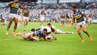 George Jennings crashes over against former club Penrith
