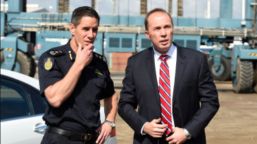 Home Affairs Minister Peter Dutton and former Australian Border Force commissioner Roman Quaedvlieg together in 2015.