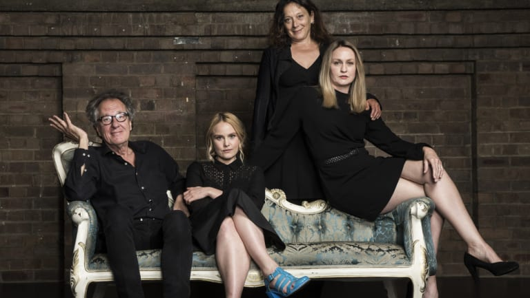 Geoffrey Rush and Eryn Jean Norvill, with fellow cast members Helen Buday and Helen Thomson, at the Sydney Theatre Company ahead of the King Lear production.