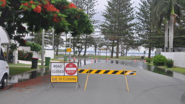 A road closed at Scarborough, north of Brisbane, the day before the king tide in January last year.