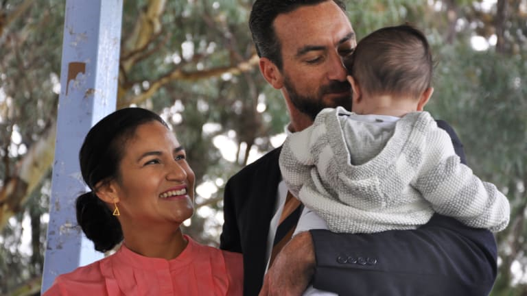 Tim Hammond with his wife Lindsay and seven-month-old son Tully.