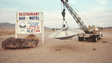 A motel is advertised near Area 51 on the Extraterrestrial Highway.