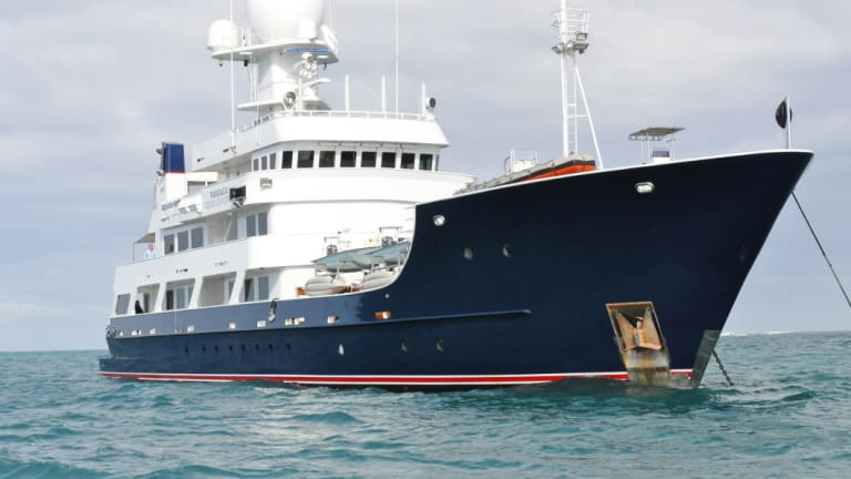The Pangaea Ocean Explorer, a state-of-the-art deep water marine research vessel purchased commercially by the Forrest family and to be loaned to marine conservation efforts.