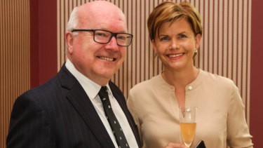 Australia's High Commissioner to the UK, George Brandis, with the Latvian Ambassador Baiba Braze at the Latvian Embassy in London on Thursday.