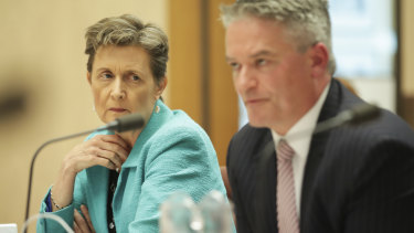 Finance Department head Rosemary Huxtable with her minister Mathias Cormann during estimates last month.