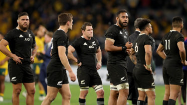 The All Blacks look on during their heavy defeat to Australia last week.