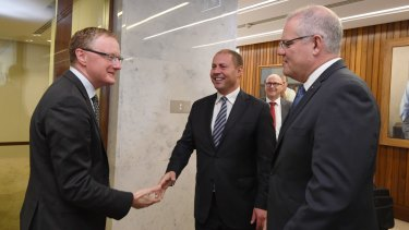 Philip Lowe met with newly re-elected PM Scott Morrison and Treasurer Josh Frydenberg on Wednesday.