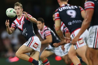 Sam Walker during his Roosters debut against the Warriors.