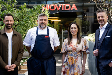 Frank Camorra of MoVida pictured with MasterChef judges Andy Allen, Melissa Leong and Jock Zonfrillo.