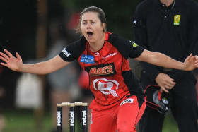 Molly Strano of the Renegades appeals for a wicket during the Women's Big Bash League (WBBL) match between the Melbourne Renegades and the Brisbane Heat