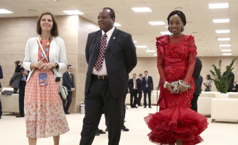 King Mswati III of eSwati, formerly Swaziland and his wife arrive at the Russia-Africa summit in the Black Sea resort of Sochi, Russia in 2019.