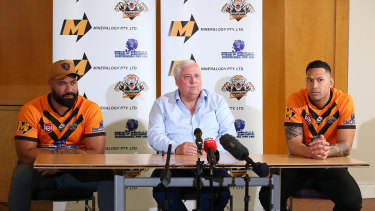 Tony Williams, Clive Palmer and Israel Folau speak at a press conference at the Hilton Hotel on July 9, 2021 in Brisbane, Australia.