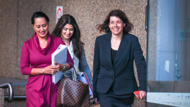 Sue Chrysanthou SC, far right, outside the Federal Court in Sydney last week.