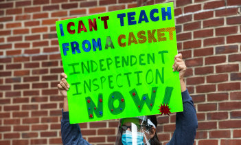 Some New York teachers have been protesting against the return to in-person teaching, which they say has taken place without proper safety precautions during the pandemic.
