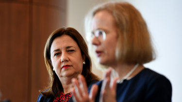 Queensland Premier Annastacia Palaszczuk with Queensland Chief Health Officer Dr Jeannette Young.