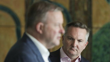 Chris Bowen (right), with Labor leader Anthony Albanese, says he is frustrated at the debate over the future policy direction of the party.