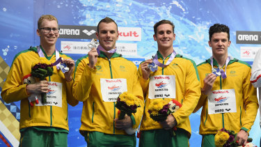 The 4x200m relay team from the 2018 Pan Pacs - Clyde Lewis, Kyle Chalmers, Alex Graham and Jack Cartwright.