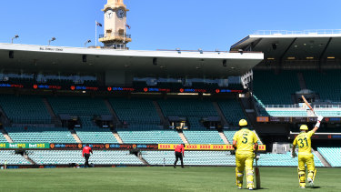 Australian openers David Warner and Aaron Finch walk out to bat at an empty SCG last Friday against New Zealand.