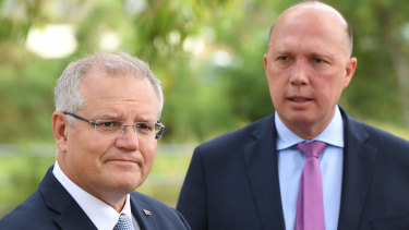 Prime Minister Scott Morrison and Home Affairs Minister Peter Dutton of Queensland's LNP. The Coalition has been hunting for donations to fuel its campaigns in key electorates, including Dutton's.