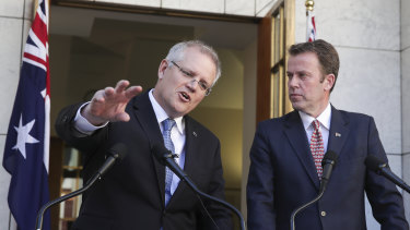 Prime Minister Scott Morrison and Education Minister Dan Tehan address the media on education funding.