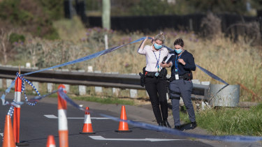 Detectives at the scene on Boundary Road in Derrimut where an injured man died overnight.