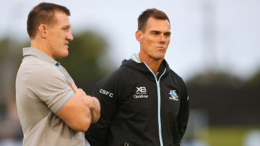 Sharks coach John Morris, right, has been stood down as the Sharks cut costs due to the coronavirus crisis.
