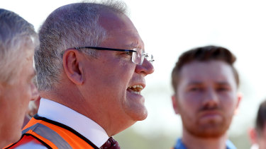 Prime Minister Scott Morrison announcing details of a nationwide infrastructure in Queensland on Wednesday.