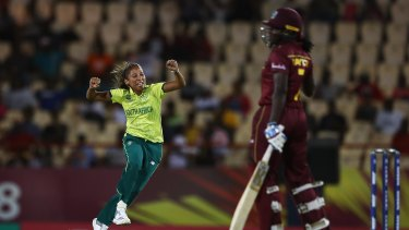 Shabnim Ismail celebrates the wicket of Stafanie Taylor at the ICC Women's World T20 in 2018.