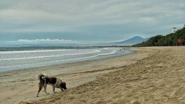 Empty Kuta beach during the COVID-19 pandemic.