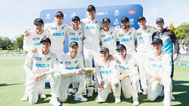 New Zealand pose with the series trophy after their eighth straight home series win.