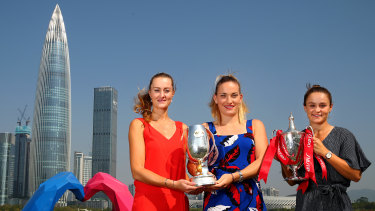 Doubles winners Kristina Mladenovic (far left) and Timea Babos, with Australia's Ashleigh Barty in China.