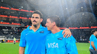 Pumas captain Pablo Matera (left), who was stood down for Saturday's match, after full-time.