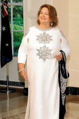 Gina Rinehart at the State Dinner for Scott Morrison at the White House in 2019, wearing Ralph & Russo.