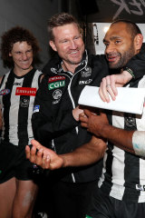 Buckley with Chris Mayne and Travis Varcoe in 2018.