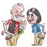 The Berejiklian government and the crossbench are at a stand-off over the powers of the upper house. Illustration: John Shakespeare