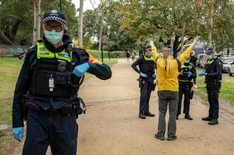 """An anti-lockdown protester organised at a """"freedom walk"""" against Melbourne's COVID-19 restrictions in September."""