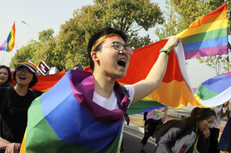 """That was then ...  more than 20,000 people take part in a """"Rainbow Marathon""""  of gay activists in April 2018 to raise awareness of LGBT issues in Nanjing in eastern China's Jiangsu province. Weibo.com announced at the time that it would no longer censor content related to gay issues after that plan triggered a loud public outcry."""