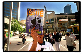The Big Issue on sale in the Bourke Street Mall in 1998.
