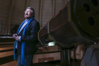 Derryn Hinch at the Melbourne Observatory ahead of the moon landing anniversary.