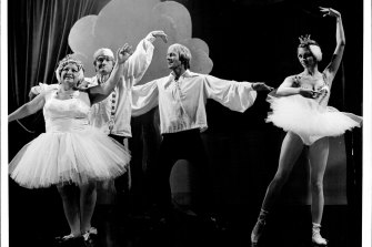 Performing on The Paul Hogan Show in 1977.  From left, Beryl Cheers, John Cornell, Paul Hogan and Delvene Delaney.