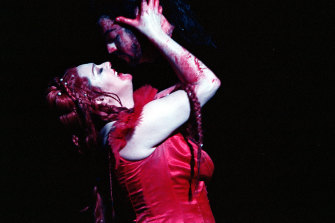 Clasping the head of John the Baptist, Lisa Gasteen in 'Salome' in 2003.