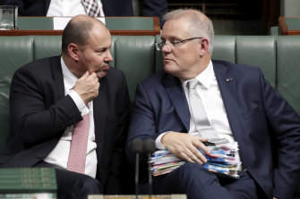 The jig's up: Treasurer Josh Frydenberg and PM Scott Morrison in Question Time on Wednesday.