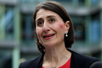 NSW Premier Gladys Berejiklian speaks to the media on Monday.