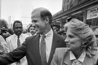 Then senator Joe Biden and his wife, Jill Biden, after announcing his first presidential campaign in Wilmington, Delaware on June 9, 1987.