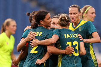 Sam Kerr was on target twice for the Matildas but missed a penalty.