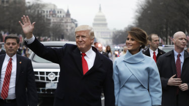 The President and first lady on parade after the inauguration.